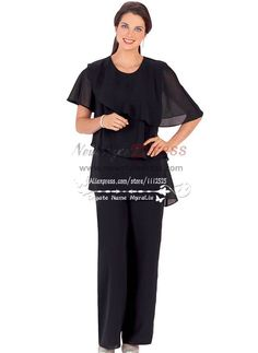 Plus size black  cozy chiffon dresses for wedding mother of the birde pant suits