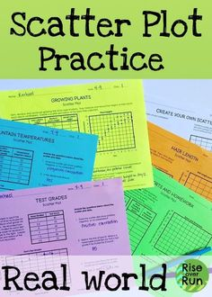 Practice scatter plots with these worksheets about real world scenarios. Students survey each other for two of the activities. Blank template also included. Questions about correlation, outliers, trends, and line of best fit. Fun Math Activities, Math Resources, 8th Grade Math, First Grade Math Worksheets, Sixth Grade, Teaching Math, Maths, Teaching Ideas, Line Math