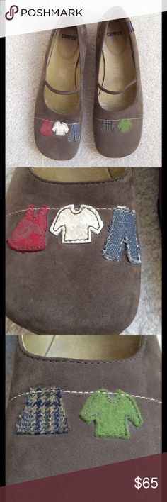 Camper shoes, olive suede with clothes line decor Stylish yet fun Campers, olive suede. Stitched decoration is of a clothes line with clothes (see close up photos). Size is Euro 39. Camper Shoes Flats & Loafers