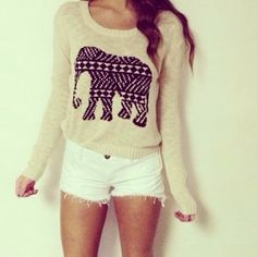 Cute elephant sweater \Visit www.betteceline.com for more chic styled fashion \