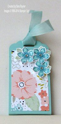 handmade tag ... petite petals punched flowers ... coordinating patterned paper and cardstock ... sweet look ... Stampin'Up!