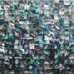 Paua mother of pearl tiles wall decor mosaics green abalone shell iridescent bath mirror shower walls kitchen backsplash tile