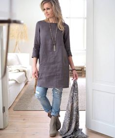 BYPIAS Happiness linen tunic ❤ Our strong bestseller! You will find all the … BYPIAS Happiness linen tunic ❤ Our strong bestseller! You will find all the colors in webshop. 50 Fashion, Look Fashion, Fashion Outfits, Womens Fashion, Gothic Fashion, Linen Dresses, Casual Dresses, Casual Outfits, Linen Tunic Dress