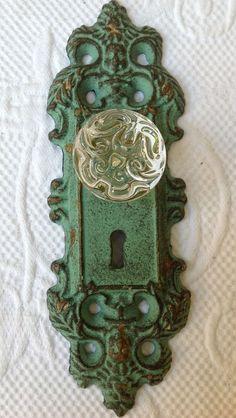 vintage 1890s victorian door knob backplate set ornate brass 1 set