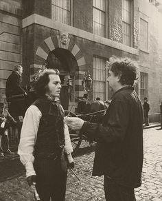 """ Johnny Depp and Tim Burton on the set of Sweeney Todd "" Sweeney Todd, Tim Burton Films, Burton Burton, Johnny Depp Wallpaper, Tim Burton Johnny Depp, Sound Of Music Movie, Mrs Lovett, Estilo Tim Burton, Johnny Depp Movies"