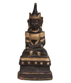Burma / Thailand 20. Jh. Holz Statue - A Burmese Style Wood Figure of Buddha