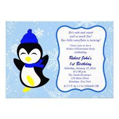 Winter Penguin Snowflake 1st Birthday Invitation