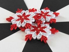 Snowflake Red White Quilled Handmade Art Paper Quilling