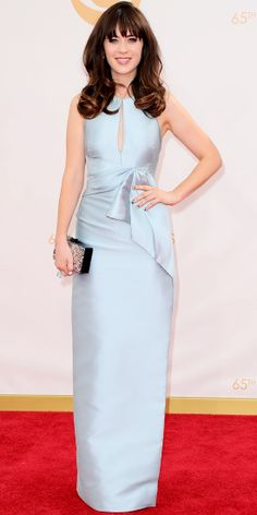 Deschanel matched her baby blues with an icy-blue J. Mendel gown with keyhole detailing. She stayed true to her color palette and picked a p...