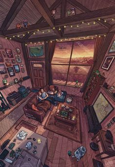 [art] Cabin Sunset, Illustration by Me. Follow for more! Full credits to u/Rojom Aesthetic Rooms, Aesthetic Art, Home Room Design, House Design, Illustration Pop Art, Illustrations, Jr Art, Anime Scenery Wallpaper, House Drawing