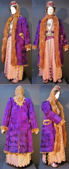 A traditional festive ('winter') costume from the Konya province.  Late-Ottoman urban fashion, end of 19th century.  With an 'üçetek' (robe with three panels) and an ample silk 'şalvar' (baggy trousers).  On top of these: a 'kürk' (fur coat) with silk velvet outside. These garments date, as well as the jewelry, from 1875-1900, or earlier.  (Kavak Costume Collection - Antwerpen/Belgium).