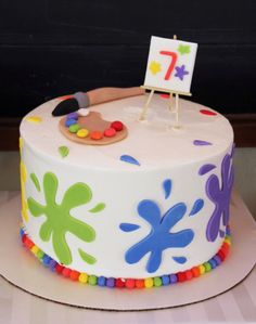 5M Creations: Rainbow Art Party- art / paint cake