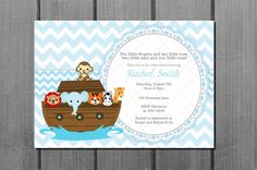 Blue Chevron Noah's Ark Baby Shower Invitation and FREE Thank You Card Printable DIY