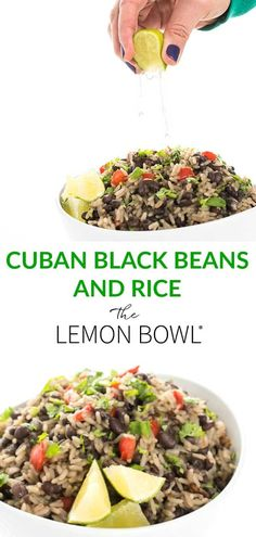 Cuban Black Beans and Rice Recipe - The Lemon Bowl - - Cuban Black Beans and Rice is a simple, satisfying side dish bursting with Latin flavors like garlic, oregano, and cumin. Cuban Rice And Beans, Cuban Black Beans, Rice And Beans Recipe, Black Beans And Rice, Beans Recipes, Mexican Food Recipes, Vegetarian Recipes, Cooking Recipes, Healthy Recipes