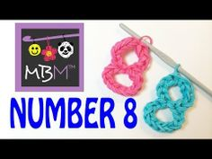 NUMBER 8 Charm (no loom). Designed and loomed by Made By Mommy. Click photo for YouTube tutorial. 05/02/14.