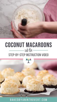 This made-from-scratch Coconut Macaroons recipe is chewy, delicious, and so easy to make. It's made with only a handful of ingredients and uses no sweetened condensed milk! Coconut Milk Recipes, Coconut Desserts, Coconut Cookies, Coconut Macaroons Recipe Without Sweetened Condensed Milk, Recipe With Coconut, Easy Coconut Macaroons, Coconut Macarons Recipe, Sweeten Condensed Milk Recipes, Best Desserts