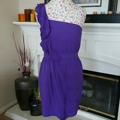 *SALE* BCBG Purple Ruffled Dress (was $16) This is such a beautiful dress! Very fitting and feminine.  Side zipper one shoulder. Lined underneath. BCBGeneration Dresses One Shoulder