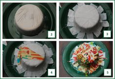 fabric mache' bowl.  Cover bowl w/ clingfilm, add watered down glue and 3 layers of material scraps.