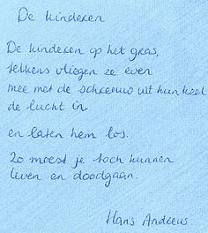 Hans Andreus, kinderen, gras, leven en doodgaan