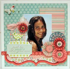 awesome color scheme in this layout at Scrapbook.com #scrapbooking