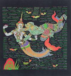 Hanuman with Sovanna Maccha, The Mermaid Princess (Screen Print on silk - Unframed))