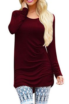 POSESHE Womens Basic Long Sleeve Slim Fit T Shirt Dress Tunic Top Wine Red L ** You can find more details by visiting the image link. (Note:Amazon affiliate link)