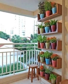 Полки на балконе для цветов