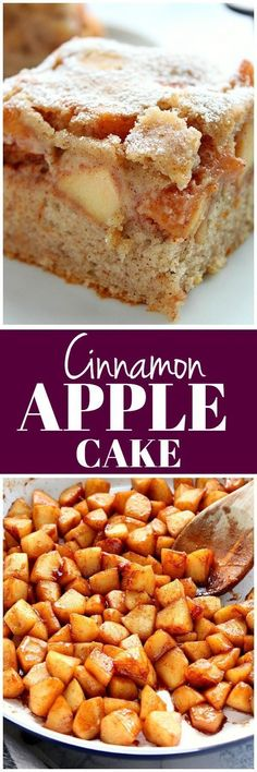 Cinnamon Apple Cake Recipe - soft and fluffy cinnamon cake with a layer of spiced brown sugar apples cooked in a skillet. You can use any apples you want to make this delicious dessert! desserts for recipes delicious recipes Köstliche Desserts, Delicious Desserts, Dessert Recipes, Apple Cake Recipes, Baking Recipes, Apple Pie Cake, Baking Ideas, Apple Cakes, Cookie Recipes