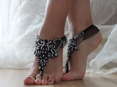 Black silver lace sandals silver embroidered beads by lacestyle