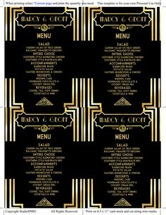 Printable Menu Template  Art Deco Great Gatsby Inspired  Black