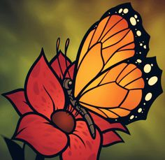 how to draw a butterfly on a flower, butterfly and flower