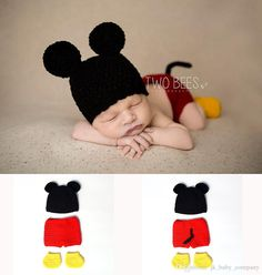 Crochet Baby Boy Mickey Costume Knitted Newborn Baby Cartoon Outfits Baby Crochet Hat Beanie Infant Halloween Costume BP009 Photography Prop Newborn Photography Props Halloween Costume Online with $18.86/Piece on Jk_baby_company's Store | DHgate.com