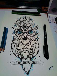 Chouette mandala tattoo