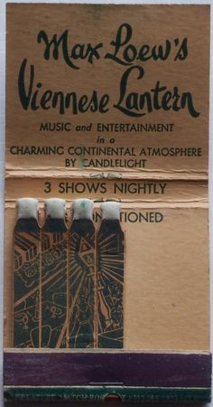 Max Loew's Viennese Lantern NYC #feature #matchbook - To design & order your…
