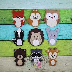 Woodland Animals Finger Puppet Embroidery Design - 4x4 Hoop or Larger