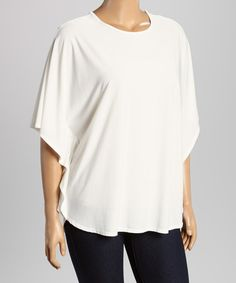 Another great find on #zulily! White Cape-Sleeve Top - Plus #zulilyfinds