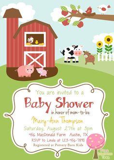 Set of 20 farm barnyard animals birthday or baby shower farm animal baby shower invitations farm themed baby shower invitation gender neutral sale filmwisefo
