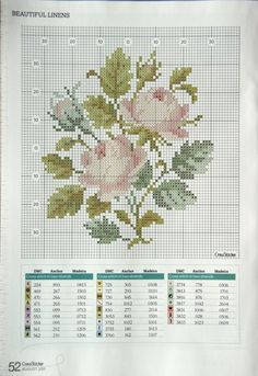 Beautiful Linens cross stitch pattern free
