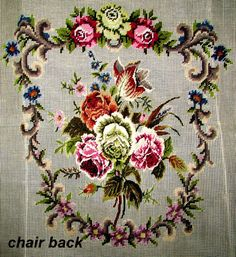 SALE**Finished Needlepoint. A Vintage Victorian Style Chair Cover. Border in Needlepoint /Center Bouquet in Petite point../On SPECIAL!