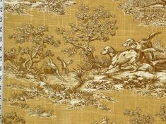 Dog fabric retriever gold toile pheasant fall from Brick House Fabric: Novelty Fabric