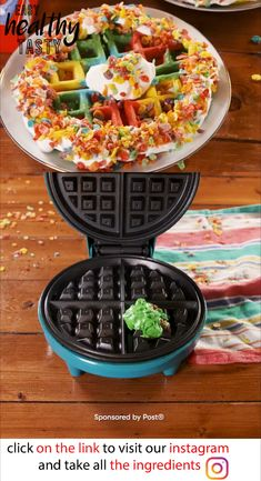 Delicious  Tie-Dye Fruity Pebbles-Crusted Waffles