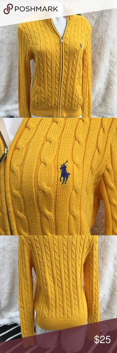 Ralph Lauren yellow zip-up sweater This sweater is thrifted in excellent used condition. Seriously, it's in such good condition. And its yellow color is gorgeous, the logo pops against the color. What a beautiful find! Full-zip is nice too. Ralph Lauren Sweaters Cardigans