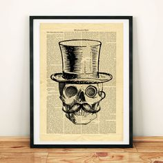 Skull Vintage image Hat Moustache Monocle Printable Collage Old Newspaper Wall Art Print Ho Vintage Newspaper, Newspaper Paper, Printable Designs, Printable Crafts, Hat Organization, West Art, Dictionary Art, Diy Hat, Steampunk Diy