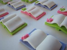 Fondant Cupcake Toppers Edible 3D Books by cookiecovers on Etsy, $16.95