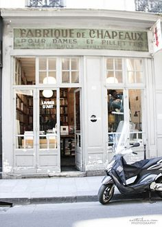 Chapeauz Paris. Love the old architecture in France and the rest of Europe, AND it's a bookstore, my favorite place to be. Lovely. Biddy Craft