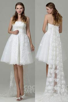 Sweet A-Line Strapless Natural Knee Length Tulle Ivory Sleeveless Lace Up-Corset Wedding Dress with Appliques and Removable Train CWLK15001 #weddingdresses #cocomelody