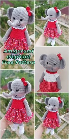 Amigurumi province, we continue to share relevant. In this article we will share amigurumi woman elephant free crochet pattern. Crochet Doll Pattern, Crochet Patterns Amigurumi, Crochet Dolls, Animal Knitting Patterns, Stuffed Animal Patterns, Crochet For Kids, Free Crochet, Crochet Crafts, Crochet Projects
