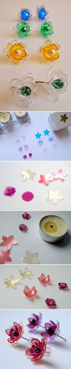 DIY Flower Earrings from Plastic Bottles great for all ages.If you have pierced ears here's a cute earrin DIY Flower Earrings from Plastic Bottles great for all ages.If you have pierced ears here's a cute earring. Plastic Bottle Flowers, Plastic Bottle Crafts, Plastic Jewelry, Recycle Plastic Bottles, Recycled Jewelry, Recycled Crafts, Diy And Crafts, Handmade Jewelry, Diy Earrings