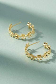 Anthropologie Chain of Flowers Hoop Earrings #ad