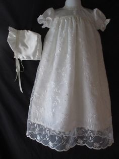 Baby Girl Ivory Silk ShantungEmbroidered by Sewingbyquicatos, $82.50